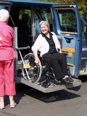 Senior Woman on Van Lift